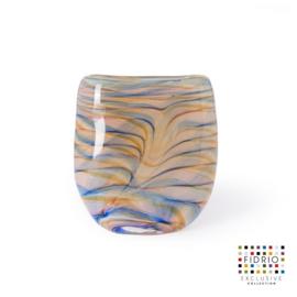 Design vaas Fidrio - glas kunst sculptuur - Elips - coloured waves - mondgeblazen - 22 cm hoog --