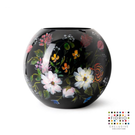 Design vaas Fidrio - glas kunst sculptuur - bolvase royal flowers - handgeschilderd - 25 cm diep