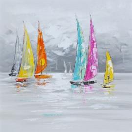100 x 100 cm - Olieverfschilderij - Bootjes
