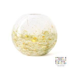 Design vaas Fidrio - glas kunst sculptuur - coco - Mistique green- mondgeblazen - 21 cm hoog --