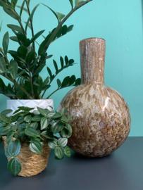 Design vaas Fidrio - Globe gold - gekleurd glas - mondgeblazen - 40 cm hoog