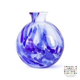 Design vaas Fidrio - Bolvase Delfts blue - gekleurd glas - mondgeblazen - 19 cm diep