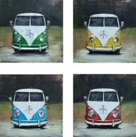 40 x 40 cm - 3D art Schilderij Metaal oldtimer -  Volkswagen T1 busjes - set van 4 - handgeschilderd