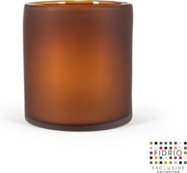 Design vaas Cilinder frosted - Fidrio Amber - glas, mondgeblazen bloemenvaas - diameter 18 cm hoogte 20 cm
