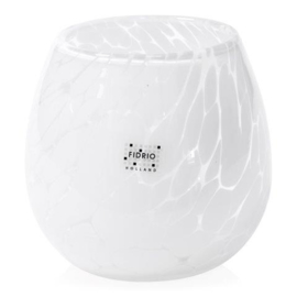 Design vaas Fidrio - glas kunst sculptuur - fiore - White granulat - mondgeblazen - 15 cm hoog --