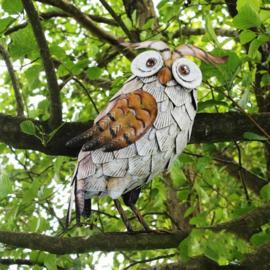 Tuinbeeld  - beeld metalen witte uil