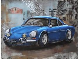 80 x 60 cm - 3D art Schilderij Metaal - Alpine Renault A110 Oldtimer - handgeschilderd