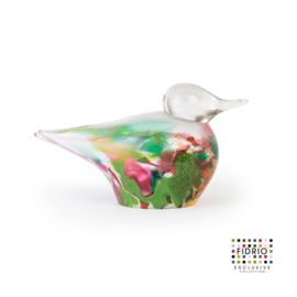 Design Fidrio - glas kunst sculptuur - duck - mixed colours - mondgeblazen - 13 cm hoog --