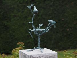 Tuinbeeld - bronzen beeld - Voederschaaltje vogels - Bronzartes - 40 cm hoog