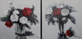 60 x 60 cm - Olieverfschilderij 2-luik - Rozen