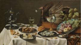 120 x 80 cm - Plexiglas klassiek schilderij - Stilleven met kalkoenpastei - klassieke kunst afbeelding op acryl - oude meesters!