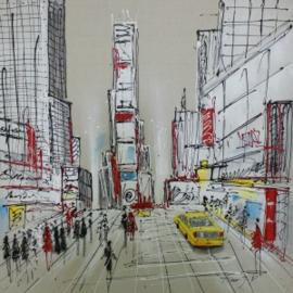 100 x 100 cm - Olieverfschilderij - Stad - stadsgezicht skyline handgeschilderd