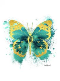 60 x 80 cm - Glasschilderij - schilderij fotokunst - met goudfolie -  vlinder - foto print op glas