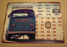 Wanddecoratie - Kalender - Volkswagen tourbus - 33x25