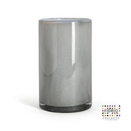 Design vaas Fidrio - glas kunst sculptuur - cilinder - Grey/opal - mondgeblazen - 19,5 cm hoog