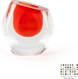 Design vaas mini vase rood - Fidrio Massive - glas, mondgeblazen - hoogte 11,5 cm