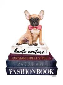 60 x 80 cm - Glasschilderij - schilderij - Fashion boeken - Franse bulldog - foto print op glas