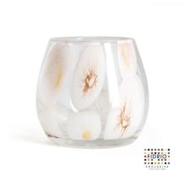 Design vaas Fidrio - glas kunst sculptuur - fiore - Marrone - mondgeblazen - 22 cm diep --