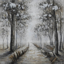 100 x 100 cm - Olieverfschilderij - Bospad - bomen  - natuur handgeschilderd