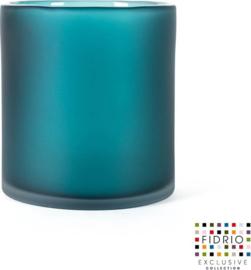 Design vaas Cilinder frosted - Fidrio Lagoon - glas, mondgeblazen - diameter 18 cm hoogte 20 cm