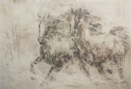 150x100 cm - Olieverf Schilderij - paarden - handgeschilderd