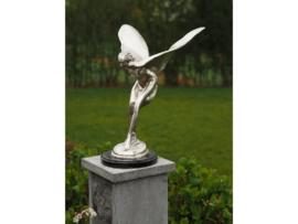 Tuinbeeld - bronzen beeld - Vliegende vrouw verzilverd - Bronzartes - 49 cm hoog
