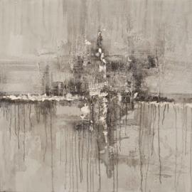 100 x 100 cm - Olieverfschilderij - Abstract Bruin