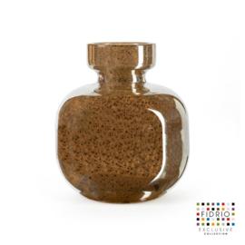 Design vaas Fidrio - glazen sculptuur - Bronze - olympia - glas - mondgeblazen - bloemenvaas - 20 cm hoog --