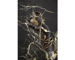80 x 120 cm - Glasschilderij - Hand met gouden juwelen - schilderij fotokunst - foto print op glas