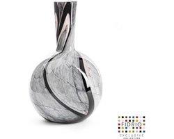 Design vaas Globe M - Fidrio ONYX FLAME - glas, mondgeblazen bloemenvaas - hoogte 26 cm
