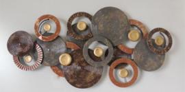 Metalen wanddecoratie - wanddeco - bruine cirkels