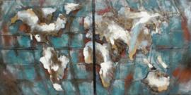 180 x 90 cm - 2-luik 3D art Schilderij Metaal Wereldkaart - handgeschilderd