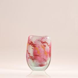 Design vaas Fidrio - glas kunst sculptuur - Elips - Colourato Rosa - mondgeblazen - 22 cm hoog --