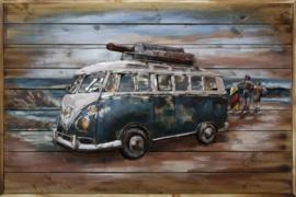 120 x 80 cm - 3D art Schilderij Metaal en hout -Volkswagen bus - handgeschilderd