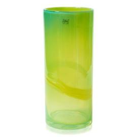 Design vaas Fidrio - glas kunst sculptuur - cilinder - Verde - mondgeblazen - 40 cm hoog