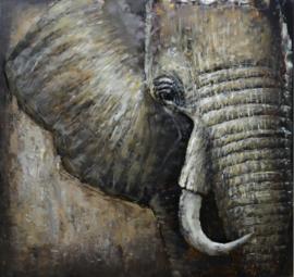100 x 100 cm - 3D art Schilderij Metaal Olifant - dieren - handgeschilderd
