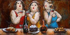 80 x 120 cm - 3D art Schilderij Metaal -  3 vrouwen - handgeschilderd
