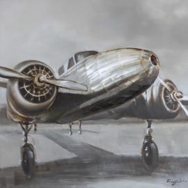Olieverfschilderij - Propeller Vliegtuig - 100x100 cm