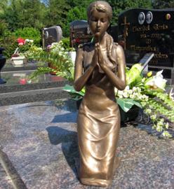 Beeld brons - Grafdecoratie - Biddende vrouw - Bronzartes - 31 cm hoog --