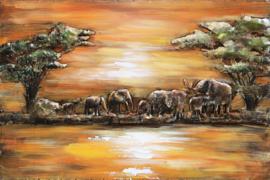 120 x 80 cm - 3D art Schilderij Metaal Olifanten Zonsondergang - metaalschilderij - handgeschilderd