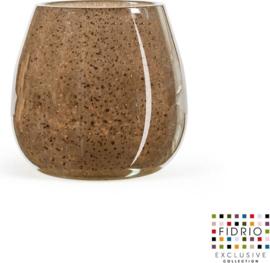 Design vaas vase Fiore - Fidrio Bronze - Bloemenvaas glas, mondgeblazen - hoogte 15 cm --