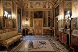 120 x 80 cm - Glasschilderij - Wachtkamer in paleis - schilderij fotokunst - foto print op glas --