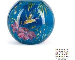 Design vaas Bolvase - Fidrio KOLIBRI - HANDPAINTED - glas, mondgeblazen - diameter 25 cm