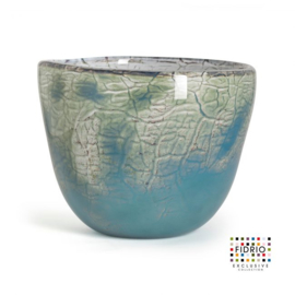Design vaas Fidrio - glas kunst sculptuur - bowl - Oceana - mondgeblazen - 20 cm hoog