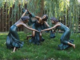 Tuinbeeld - groot bronzen beeld -  dansende vrouwen - Bronzartes
