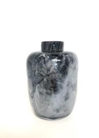Design vaas Toronto Medium - Fidrio NERO zwart - glas, mondgeblazen bloemenvaas - hoogte 15 cm --