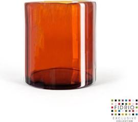 Design vaas Cilinder - Fidrio Amber - glas, mondgeblazen - diameter 18 cm hoogte 20 cm