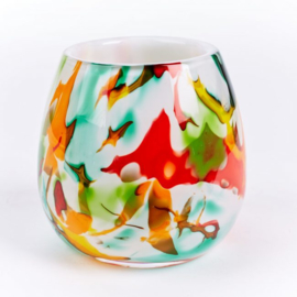 Design vaas Fidrio - Fiori - Fiorito - gekleurd glas kunst - mondgebazen - 15 cm hoog