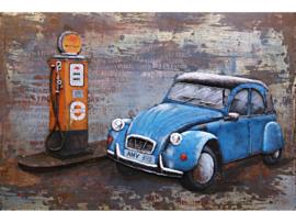 140 x 70 - 3D Schilderij Metaal - Blauwe eend, 2cv - Citroën - handgeschilderd