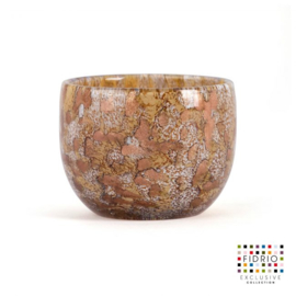 Design vaas Fidrio - candleholder gold - gekleurd glas - mondgeblazen - 7 cm hoog --